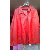 Jaqueta Couro Legítimo Vermelha Extra Grande 160cm Cintura
