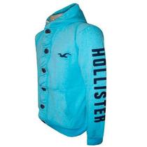 Blusa Moletom Hollister Masculino Azul Claro Hlj14 Botões