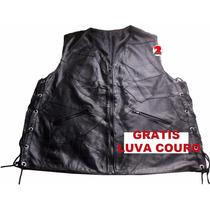 Colete Retalho Couro Motociclista Motoqueiro Frete Grátis