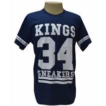 Camiseta King Snearkes Azul Marinho E Branco