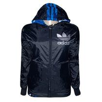 Jaqueta Adidas Nylon Dupla Face Feminina Preta E Azul