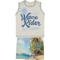 Conjunto Marisol Camiseta Regata Em Malha Flamê + Bermuda