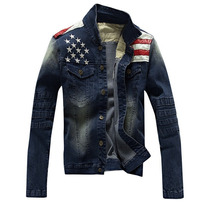 Jaqueta Masculina Casaco Jeans Bandeira Amerinaca