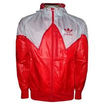 Jaqueta Adidas Napa Vermelha E Branca Com Gorro