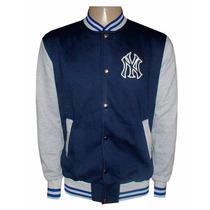 Blusa Moletom New York Yankees Azul Marinho E Cinza College