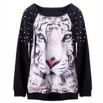 Moletom Blusa Casaco Camisa Tigre Branco Preta Spikes