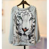 Moletom Blusa Casaco Camisa Cinza Tigre Branco Spikes