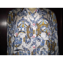Camisa Feminina Seda Azulejo Portugues G Frete Free