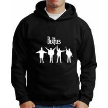 Moletom The Beatles Com Capuz E Bolso Lateral Blusa Bandas