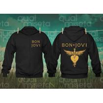 Jaqueta Moleton Bon Jovi Bandas Rock Capuz Casaco