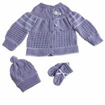 Conjunto De Lã (casaco, Touca E Sapato) Bebê Recém-nascido