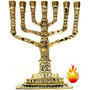 Castiçal Menorah 7 Braços 11 Cm Bronze Maciço