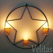 Mandala Estrela Parede Ferro Com Velas Arandela Decorativa