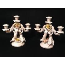 Espetacular Par Castiçal Em Porcelana Italiana Jpgyn