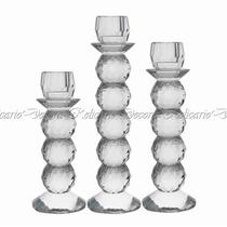 Jogo Em Castiçal De Cristal Formato Bolas Lindo Design