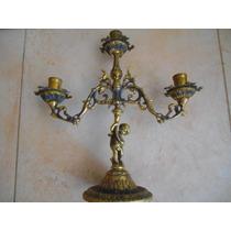 Castiçal 3 Velas Em Bronze Com Anjo