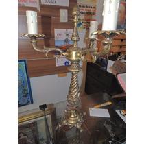 Antigo Candelabro Em Bronze 3 Lampadas
