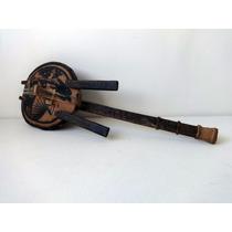 Banjo Decorar Couro, Madeira E Cabaça - Oceania Peça Antiga