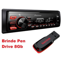 Mp3 Player Pioneer Mvh-078ub Aux Usb Frontal + Brinde