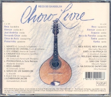 Cd Reco Do Bandolim & Choro Livre - 1999 - Lacrado