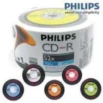 50 Midia Cd-r Virgem Philips C/ Logo Igual Disco De Vinil