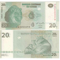 Cedula Do Congo De 20 Francos - Fe