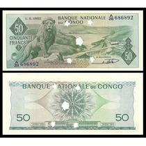 Congo Dem Republic P-5a S/fe 50 Francs 1962 Cancelada * Q J