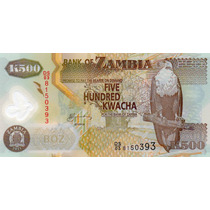 Cédula Zâmbia 500 Kwacha Polímero Fe