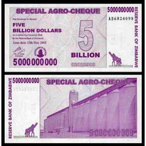 Zimbabwe Zimbabue P-61 Fe 5 Bilhões Dollars 2008 * Q J *