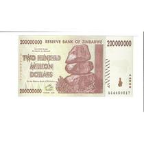 Linda Cédula Zimbábue 200.000.000 Dollars Fe - Vejam A Foto