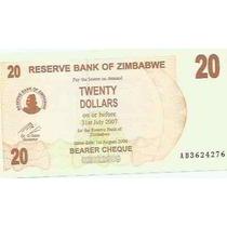 414 - Cédula Estrangeira Zimbabwe Fe - Twenty Dollars