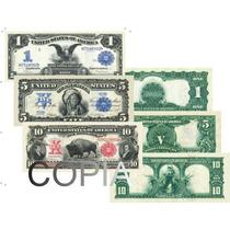 3 Réplicas Cédulas De Dollares Raríssimas - As Mais Belas