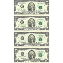Oferta Especial Quatro Cedulas Sequenciais 2 Dolares