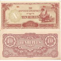 Burma Mianmar 1942-44 Cédula 10 Rúpias Quase Flor De Estampa