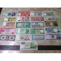 Coleção Cédulas Antigas Dinheiro Diversos Países - 21 Notas