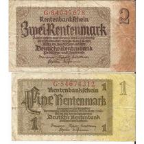 02 Cédulas Da Alemanha 1 E 2 Rentenmark 1937 Mbc