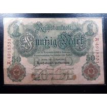 Antiga Cédula Da Alemanha, 50 Marcos, Ano 1910