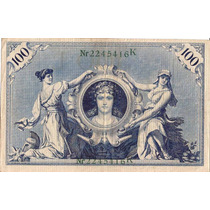 Alemanha-cedula De 100 Mark-1908-otimo Estado