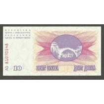 Cedula - Bosnia Herzegovina 10 Dinaras 1992 - Fe - Linda