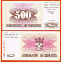 Bósnia Herzegovina 500 Dinara 1992 P. 14 Fe Cédula Tchequito