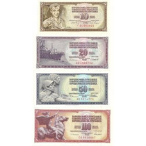 04 Cédulas Da Antiga Iugoslávia - Fe