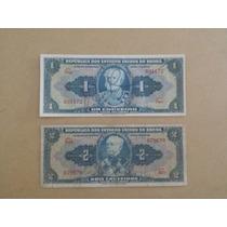 2 Cédulas De Cruzeiros Autografadas - Ano 1944- Sob/fe