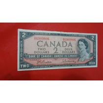 2 Dollars - Canadá - 1954 - Mbc - Difícil - F.grátis.