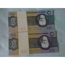 Jogo C/ 2 Cedulas Notas De Dez Cruzeiros Serie B01023