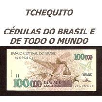 Brasil 100000 Cruzeiros C227 S/fe Céd Lev. Manchas Tchequito