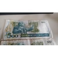 Lote 9 Cedulas Nota 500 Quinhentos Cruzados Dinheiro Antigo