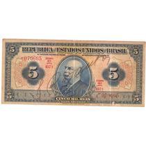 Brasil - R-100b, 5 Mil Réis, 1936, Autografada, Mbc/sob Rara