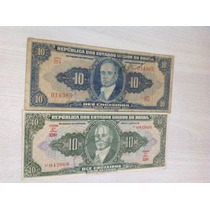 L-34 - 2 Cédulas - Cr$ 10,00 Autografada - Original 1943/50