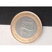 Belíssima Moeda De R$ 1,00 - Imperdível - Bandeira Olímpica