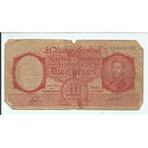 Antiga Nota Cédula 10 Diez Pesos Argentina